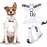 BLIND DOG (Dog Has Limited/No Sight) White Colour Coded Non-Pull Front and Back D Ring Padded and Waterproof Vest Dog Harness PREVENTS Accidents By Warning Others Of Your Dog In Advance (S)