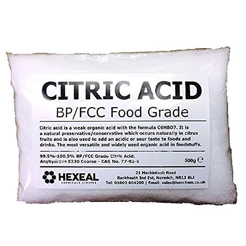 CITRIC ACID | 500g BAG | 100% Anhydrous | BP/Food Grade | Additive, Bath, Brew