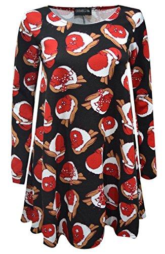 Star Trendz Frauen Mädchen Weihnachten Neuheit Swing Party Kleid M/L (EUR 40-42), Schwarzer Robin-Vogel-Druck
