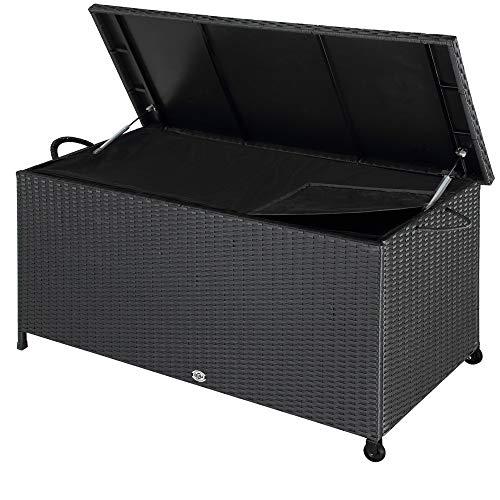Deuba Auflagenbox | 122x56x61 cm | Poly Rattan | Wasserdicht Rollbar 2 Gasdruckfedern Kissen Garten Box Truhe schwarz (Rollen Schließen)