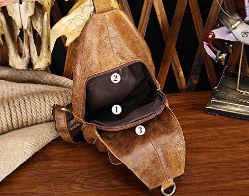 Leder Brust geschlungen Pack Header Schicht aus Leder Mann Tasche Nubuk-Leder 2