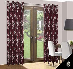 140x245 rot bordeauxrot weiß Vorhang Vorhänge Ösenschal Fensterdekoration Gardine Blickdicht Blumenmuster red burgundy-red white 003