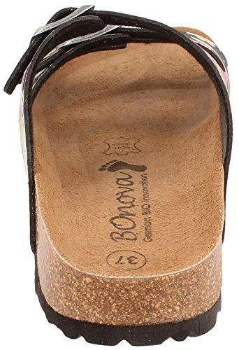 BOnova® Menorca Pantoletten in 7 Farben für Damen, Hausschuhe mit Korkfußbett - HANDMADE IN SPAIN Flowered black