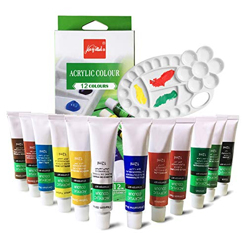 Magicdo 12 colores pinturas de vidrio con paleta, pintura no tóxica de calidad profesional para vidrio, juego de pintura de vidrio satinado de múltiples superficies, pigmento rico (12 colores)