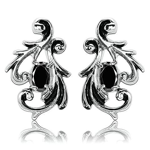 KnSam Women Stud Earrings Stainless Steel Vine Oval Crystal Black
