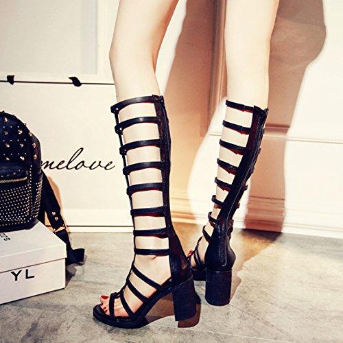 Schuhe Sandalen Lang Fuß Heel Mit Kanister High Little Weiblich Barrel Riemen Grob Schwarz Big Stiefel Cool 4Un581