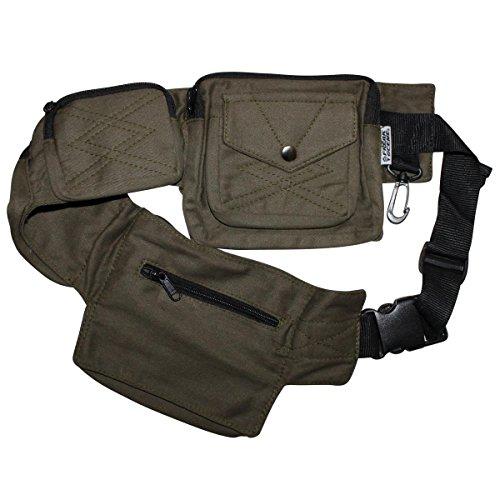 Freak Scene® Tasche ° Gürteltasche ° Jimi ° Bauchtasche ° Hüfttasche mit mehreren Taschen, alle Farben!!! grün-oliv