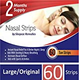 Nasal Strips Large x60 by Sleepeze Remedies | Nose Strips to Stop Snoring and Help You Breathe Through Your Nose | Nasal Strip Snoring Aids and Anti Snore Devices