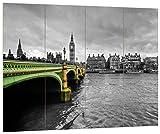 Pixxprint Skyline von London mit Themse und Big Ben Schwarz/weiß, MDF-Holzbild im Bretterlook Format: 80x60cm, Wanddekoration
