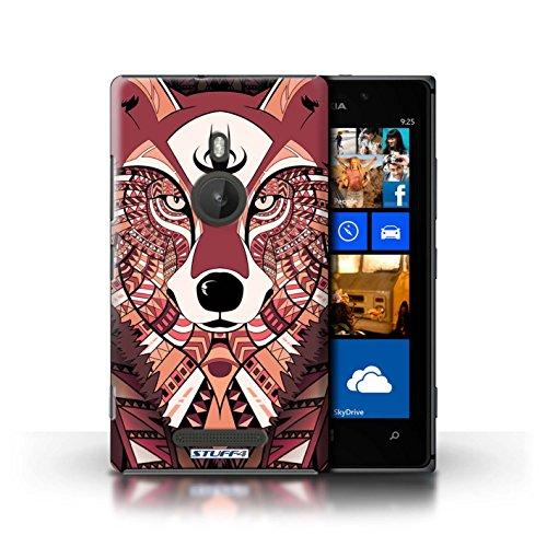 Coque en plastique pour Nokia Lumia 925 Collection Motif Animaux Aztec - Loup-Bleu Loup-Rouge