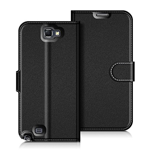 COODIO Custodia per Samsung Galaxy Note 2, Custodia in Pelle Samsung Galaxy Note 2, Cover a Libro Samsung Note 2 Magnetica Portafoglio per Samsung Galaxy Note 2 Cover, Nero