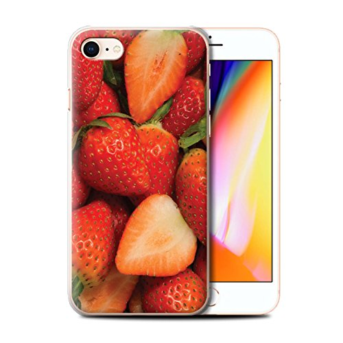 Stuff4 Hülle / Case für Apple iPhone 8 / Weintrauben Muster / Saftige Frucht Kollektion Fraise/Geschnitten