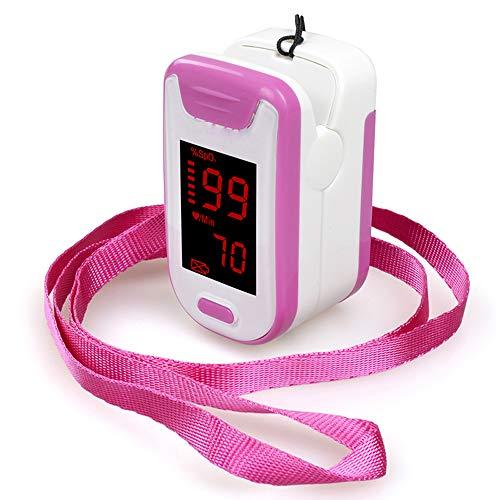 YUEC Fingerspitzen-Pulsoximeter, Display Tragbare Oxymetrie-Blutsauerstoffsättigungsüberwachungs-SpO2-Finger-Pulsoximeter-Messwerte mit Tragetasche Silikonetui,Pink
