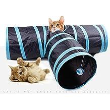 hysung mascota gato túnel plegable portátil 3way tubo de jugar juguete divertido para conejo gatos perros suelo Play azul