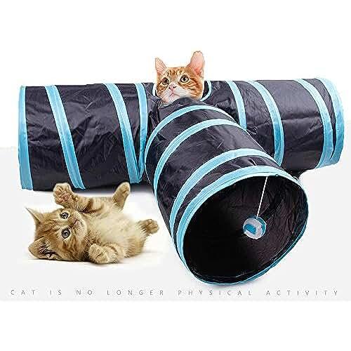 regalos tus mascotas mas kawaii Túnel plegable para mascotas, juguete divertido con 3 caminos para gato, conejo y demás, de la marca Hysung (color azul)