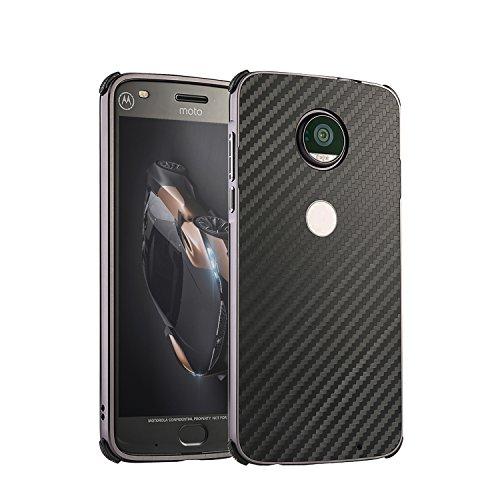 3C-LIFE Moto Z Play Aluminum Metal Bumper Case, [Anti-Slip&Easy Grip] Shockproof Ultra Luxury Aluminum Alloy Metal Frame Armor Carbon Firbe Back Protection Case (Black)
