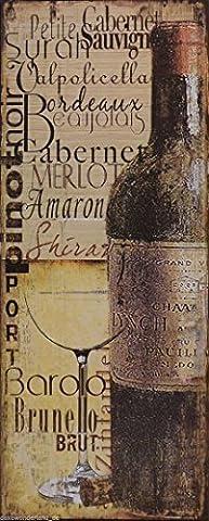 Blechschild Schild Dekoschild Brunello Merlot Cabernet Wein Weinflasche Barolo Shiraz Bordeaux Glas Vintage 50x20cm