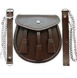 Schottisch braunes Leder Kilt Sporran und Gürtel 3 Quasten Leder Felltasche