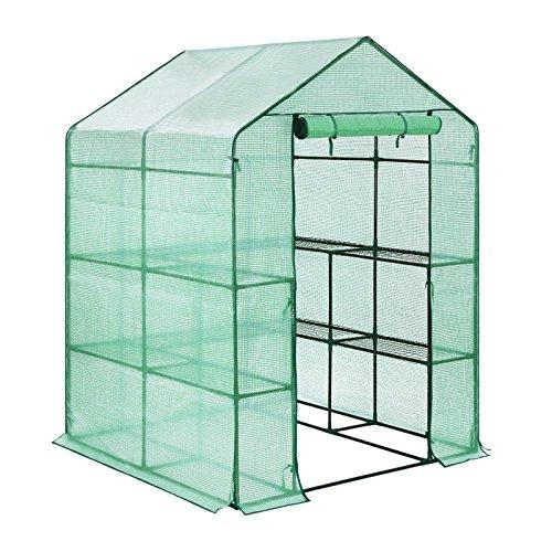 Songmics Invernadero de tomates Caseta para flores cultivos 143 x 143 x 195 cm GWP12L