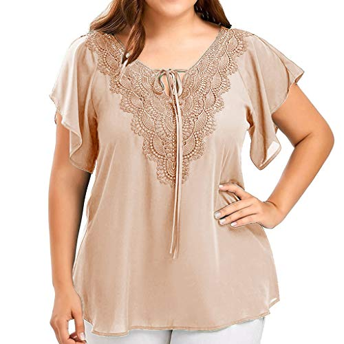 Kostüm Plus Cheerleader Größe - OVERDOSE Damen Mode Casual Chiffon Plus Size Curve Appeal Spitze V-Ausschnitt T-Shirt Bluse Kurze Fledermaus Ärmel Sommer Tops Tees Oberteile (EU-52/CN-4XL, H-Khaki)