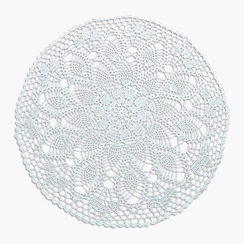 Handgefertigte Tischdecke/Tischsets, Häkelmuster, Baumwolle mit Spitze, rund, 61 cm von Y-Step weiß