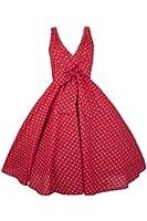 New Ladies Kushi Retro Red Polka Dot 50s Rockabilly Party Dress - Size 8 - 18