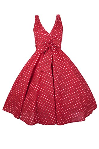 Neuf Femmes Kushi Retro Red Pois 50s Rockabilly Fête Déguisement - Taille 8 - 18 Rouge
