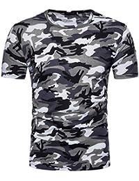 Kanpola Herren Shirt Slim Fit Fitness Casual Crew Neck Camo Bedruckt  Kurzarmshirt Muskelshirt Unterhemden Sweatshirt Tee 476a3d9eb4