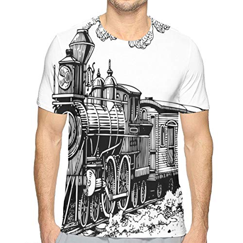 3D Printed T Shirts,Rustic Old Train In Country Locomotive Wooden Wagons Rail Road with Smoke S -