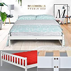 Cadre de lit en pin massif - Espace tiroir sous le lit - Blanc DOUBLE BED FRAME transparent/blanc