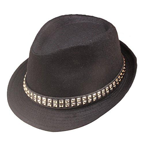 Sitong Unisex fashion perle rivets chapeau de jazz chapeau de laine r¨¦tro Rivets ¨¤ double rang¨¦e en noir
