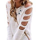 SUCES Frauen Langarm kalte Schulter stricken Bluse Top Shirt Pullover Jumper Damen Reizvolle Schräg Shoulder Jersey Oberteil Schulterfrei einfarbig Baggy Blouse Pulli Sweatshirt (White, M)