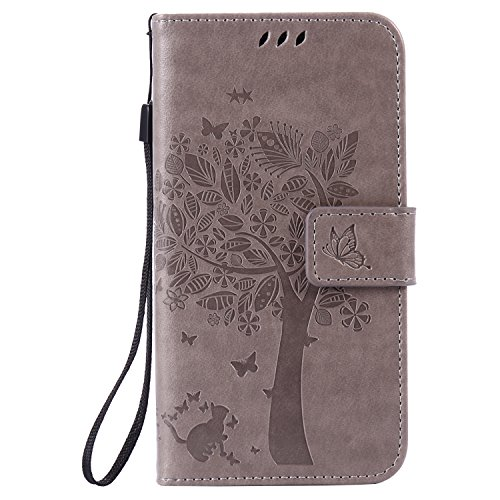 Samsung Galaxy A5 2016 Case Leather [Gray], Cozy Hut [Wallet Case] Premium Soft PU Leather Notebook Wallet Embossed Flower Tree Design Case with [Kickstand] Stand Function Card Holder and ID Slot Slim Flip Protective Skin Cover for Samsung Galaxy A5 (2016) SM-A510F 5.2 inch (Not For Samsung Galaxy A5 (2015 Version))- Gray Test