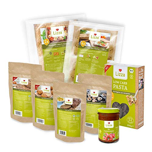 Lizza Low Carb Kennenlern Paket | Low Carb und bis zu 83% weniger Kohlenhydrate | Ohne Gluten | für Keto, Low Carb Diät sowie Muskelaufbau | Bio. Glutenfrei. Vegan.