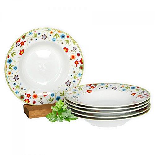 farbige teller Van Well 6er Set Suppenteller Serie Vario Porzellan - Farbe wählbar, Farbe:flowers