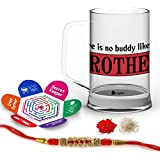 Indigifts Rakshabandhan Gifts For Brother There Is No Buddy Like You Bro Quote Printed Gift Set Of Clear Glass Beer Mug 370 Ml, Crystal Rakhi For Brother, Roli, Chawal & Greeting Card - Rakhi For Brother With Gifts, Raksha Bandhan Gifts, Rakhi Gifts F