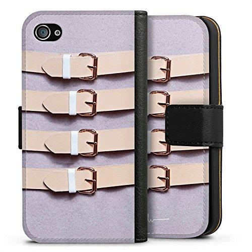 Apple iPhone X Silikon Hülle Case Schutzhülle Schnallen Flieder Leder Mode Sideflip Tasche schwarz