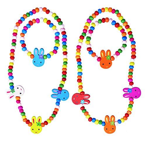 Larcenciel Kinder Schmuck Regenbogen Halskette Armband Kleine Prinzessin Stretch Holzperlen Schmuck-Set für Kinder Spielen vorgeben Dress Up ()