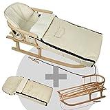 BambiniWelt24 BAMBINIWELT Kombi-Angebot Holz-Schlitten mit Rückenlehne & Zugseil + universaler Winterfußsack (108cm), auch geeignet für Babyschale, Kinderwagen, Buggy, aus Wolle Uni beige