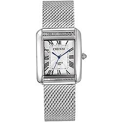 Fashion Stainless Steel Strap Rectangular Quartz Wristwatch For Men,White
