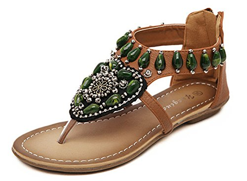 Fortuning's JDS Wulstige Böhmen T-Riemen Sandale Mode Schuhe für Frauen Braun