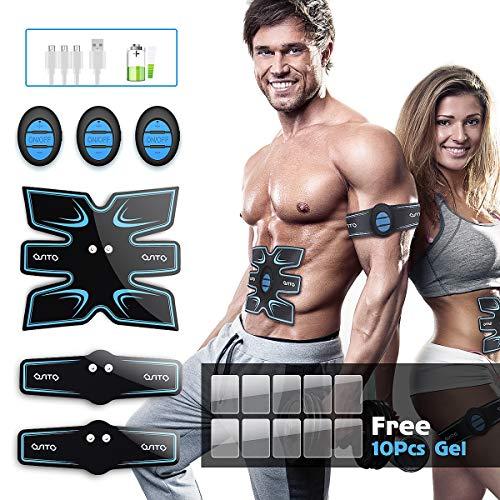 OSITO EMS Muskelstimulation Trainingsgerät Elektrostimulation USB Muskelstimulation Elektrische Bauchmuskeltrainer für Damen Herren Gel 10 Tabletten