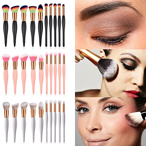 POachers 10PCS Pinceau de maquillage Wooden Foundation Cosmetic Eyebrow Eyeshadow Brush Makeup Brush Sets Tools-Ensemble de pinceaux maquillage professionnels trousse de maquillage essentielle
