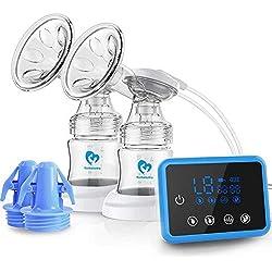 Sacaleches Eléctrico, Bellababy Bomba de lactancia / Extractor de Leche Materna con succión dual con pantalla táctil LED (con 10 Bolsas de Almacenami)