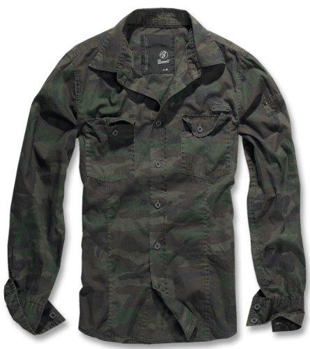 BRANDIT Men Slim Shirt Herren Hemd B-4005 Woodland
