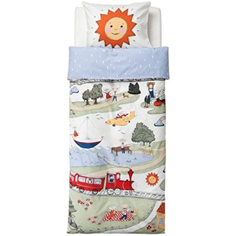 IKEA UTELEK–Juego de funda nórdica infantil tren Sun