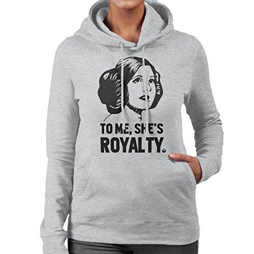 Princess Leia To Me Shes Royalty Star Wars Women's Hooded Sweatshirt Heather Grey