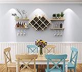 XSSD Praktische Einfache Weinregal Einfache Moderne Weinkühler Hängende Glasregal auf Den Kopf Wand Kreative Wandverkleidung, Leichte Walnuss, Dicke: 1,5 cm
