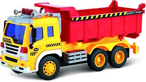 ThinkGizmos Camion Jouet à Friction avec Lumières & Son - Voiture Push Et Go pour Enfants (Marque déposée) (Camion- Benne)