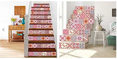 Walplus Wall Stickers Removable Self-Adhesive Mural Art Decals Vinyl Home Decoration DIY Living Bedroom Kitchen Décor Wallpaper Gift Moroccan Rose Red Mosaic Tile Sticker - 15 cm x 15 cm - 24 pcs